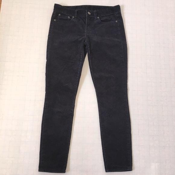 J. Crew Toothpick Dark Indigo Blue corduroy Stretch skinny jeans Size 26